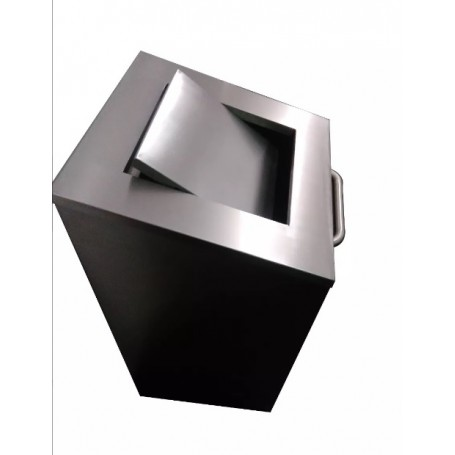 Lixeira Quadrada em Aço Inox 100l - Basculante | Evolução Inox  LQ-100L